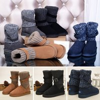 Wholesale knee high tie up boots for sale - Group buy WGG Fshion Leather Sweater Knee Boots Ankle Boots Australia Classic Brand Womens girl Knitting Wool Tie Black Grey Blue Winter Snow