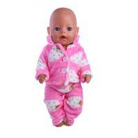 Wholesale zapf dolls - Doll accessories,Two plush pajamas (coat + pants) fit 43cm Baby Born zapf, Children best Birthday Gift
