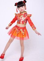 Wholesale new year s suit resale online - the year new style children Cosplay girls Yangge suit Dance performance Costume long Short style