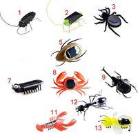 ingrosso robot giocattolo insetto-Dhl giardino energia solare robot ragno insetto cricket scarafaggio giocattolo simulazione simulazione insetto falso regalo per bambini decorazioni da giardino