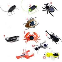 insetos robôs venda por atacado-DHL Jardim Solar Power Robot Inseto Aranha Cricket Barata formiga simulação de brinquedo inseto falso presente para as crianças Jardim Decorações