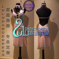 seksi latin dancewear toptan satış-Kostüm vestito Seksi Salsa latino dancewear latino da da ballo di danza kostüm içinde cha-cha pembe latin dans elbise