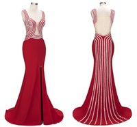 Wholesale Deep V Sweetheart Dress - 2018 New Actual Pictures Long Red Evening Dresses Straps High Side Split Illusion Back Floor Length Formal Evening Wear Prom Dress BA8879