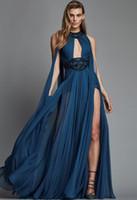 zuhair murad elbise bahar yaz toptan satış-2018 İlkbahar Yaz Zuhair Murad Elbise Seksi Yüksek Bölünmüş Abiye Şifon Boncuklu Artı Boyutu Balo Abiye