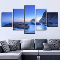 Wholesale sunrise wall art home decor - Pictures Canvas HD Print Wall Art 5 Pieces Morning Sunrise Beach Painting Rock Wave Seascape Poster Home Decor Modular Framework
