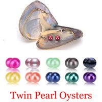 Wholesale mystery black - Free shipping 2018 round akoya oyster Jewelry 6-7 mm 25color Seawater Twins pearl oyster as mystery gift with Vacuum Package