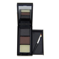 восковые брови оптовых-3 Color Hot Sale Professional Eye Shadow Eye Brow  Eyebrow  + Eyebrow Wax Palette + Brush  maquiagem