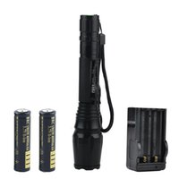 Wholesale cree ultrafire flashlight battery charger resale online - High Quality Lumens CREE XML T6 Torch Waterproof Zoom LED Flashlight With x Battery Charger Gift Boxes