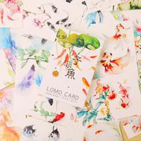Wholesale mini postcards - Wholesale- 28 pcs set fish mini Goldfish Lotus card greeting card lomo memo card kids gift postcard kawaii stationery