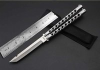 Wholesale Fish Holes - man Lengthened butterfly knives One handle nine holes butterfly knife Cast steel Camping  home cutting tools gift knife Wholesale