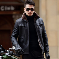 Wholesale mens thick lined winter coat - Wholesale- 2017 Winter New Casual Thick Mens Leather Coats Plus Size Velet Lining Jacket Kulit Pria