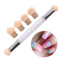 Wholesale gradient nail polish - Double Head Nail Brushes Nail Art Sponge Brush Gel Polish Gradient Painting Dotting Shading 2 Way Dual End Tool Set