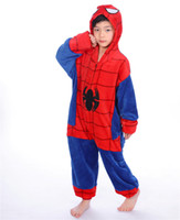erkek çocukları onesie toptan satış-Erkek Kız Pijama Çocuk Unisex Örümcek Adam Çocuk Karikatür Hayvan Cosplay Onesie Pijama Okul Partisi Cosplay MX-035