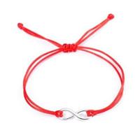 ingrosso braccialetto rosso infinito-20pcs / lot Chinese Knot String Infinity simbolo Lucky Red Cord braccialetto regolabile fai da te