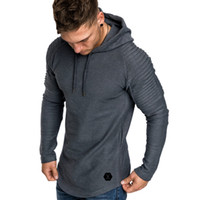 плюс размер hoodies оптовых-New Fashion Men Hoodies Plus Size 3XL Long Sleeve Plain Hooded Sweatshirt Pullover Male Fitness Tops Autumn Spring Clothes
