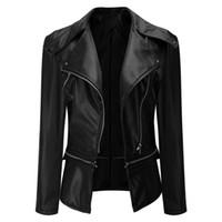 2fc594029bde8 2018 New Hot Women PU Faux Leather Jackets Lady Zippers Moto Biker Style  Zippers Girls Biker Coats Black Jacket Fashion Outwear