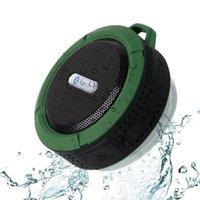 neue drahtlose audio-bluetooth-musik großhandel-C6 Lautsprecher Bluetooth Lautsprecher Wireless Potable Audio Player Wasserdichte Lautsprecher Haken und Saugnapf Stereo Music Player neu von DHL