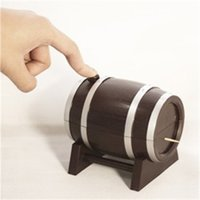 Wholesale toothpicks automatic - Toothpicks Holder Household Creative Design Automatic Wine Barrel Toothpick Storage Box Portable Home Decor New 4 8mz U