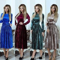 Wholesale Mid Wholesale Bodycon Dresses - Velvet Long Sleeve Maxi Dress Women Winter Maxi Gown Dress Evening Party Dinner Long Bodycon Dresses OOA4038