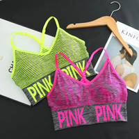 Wholesale convertible sports bra - New Cross Strap Back Women Sports Bra,Professional Quick Dry Padded Shockproof Elastic Running Yoga Tops Vest Love Pink Fashion