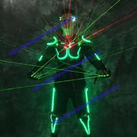 yeşil lazer dansı ışığı toptan satış-Led light up kostümleri Balo Salonu dans aydınlık robot takım gözlük yeşil lazer kumaş dansçı dj sahne gösterisi lazer eldiven kostüm