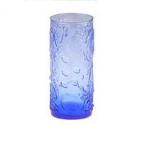 suco de frutas venda por atacado-500 ML Azul Escuro Cristal Fruta padrão decorativo Copo De Vidro De Vinho Uísque Beber Copo De Vidro Copos De Cerveja Suco De Vidro Copo Drinkware vaso