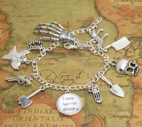 tom de filme venda por atacado-12 pcs eu amo horror filme charme pulseira galss cabochão pulseira de prata tom