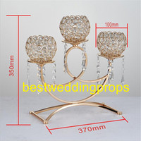 Wholesale golden wedding candles for sale - Group buy New Crystal candle holder golden plated arms metal candelabra with pendants arch bridge shape home decoration or wedding road lead bes0195