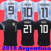 argentinien zuhause großhandel-Beste Qualität 2018 Argentinien Startseite Messi DYBALA Weltmeisterschaft Fußball Trikots 2019 DI MARIA ICARDI AGUERO entfernt schwarze Trikots