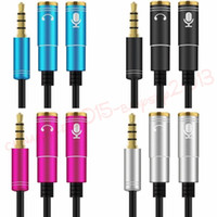 divisor de auriculares al por mayor-Mujer Splitter 1 a 2 Cable3.5mm Macho A 2 * 3.5mm Auricular Y Splitter Adaptador de cables de cable de audio para auriculares MP3 para iPhone auriculares