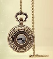 relógio de bolso do zodíaco venda por atacado-SteamPunk Estilo Constellation Zodiac Pocket Watch Colar Pingente