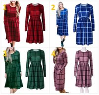 Wholesale Tea Length Cotton Casual Dresses - Plaid Casual Dress Women Long Sleeve Lattice Loose Vintage Mid Dress Fashion Ladies Dresses Maternity Dresses