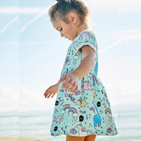 Wholesale Horses Halloween Costumes - Girls Summer Dress Printed 2018 Brand Princesse Toddler Dress Kids Costume Kids Clothes Horses Appliqued Children Dresses