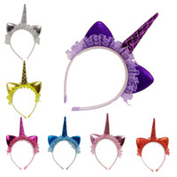 Wholesale lace cat ears - INS Baby Girls Unicorn Lace Headband Children Birthday Party Props Kids Cartoon Cat Ear Cute Lovely Hairband BBA157