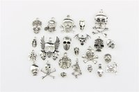 Wholesale Flower Keyrings - New 100pcs lot 5mm Hole-diameter Holloween Skull Loose Beads Charm DIY Jewelry Accessory Pendant For Keyring Bracelet Necklace