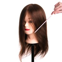 Wholesale real human hair wigs for sale - 46cm Real Human Hair Training Head can be curled head Hairdressing Mannequin Dolls