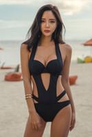 набор для купальников оптовых-Womens Bandage Mirco Bandage Bikini Set Swimwear Padded Bodysuit Swimsuit Monokini Hollow V-neck Bathing Suit