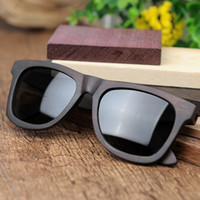 Wholesale Oem Ebony - BOBO BIRD Retro Ebony Wooden Sunglasses With Grey Polarized Lens And Fashion Design Laser On Wooden Frame Dropshipping OEM DG08a