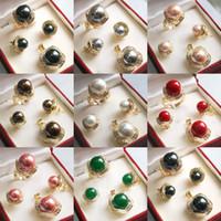 rosa schalen perlen großhandel-Schwarz Weiß Rosa Grau Shell Pearl Green Jade 18KGP Ring Ohrring Anhänger Halskette