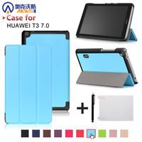 huawei mediapad ince durum toptan satış-Folio İnce kapak kılıf için Huawei MediaPad T3 7.0 BG2-W09 tablet için Onur Oyna Ped 2 7.0 koruyucu kapak cilt + ücretsiz hediye