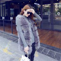 Wholesale Korean Long Vest Coat - Winter New Korean Style Faux Fox Fur Vest Sleeveless Coat Medium Long Sweet Elegant Slim Fur Thick Jacket Female One Size Gray