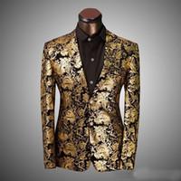 Wholesale wedding dress costume xl - hot sale new Brand Clothing Luxury Men Suit Jacket Golden Floral Suit Men Slim Fit Costume Homme Wedding Dress Size XS-6XL