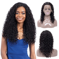 Wholesale black curled wig resale online - Cheap A Grade Inch Deep Curl Human Hair Wigs Brazilian Deep Wave Human Hair Lace Front Wigs Indian Human Hair Lace Wigs
