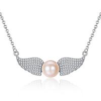 flache süßwasserperlen großhandel-Angel Wings Shape Clavicular Kette Sterling Silber Anhänger Halskette mit flachen Perlen Natürliche Süßwasser Perlenkette für Frauen