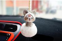 pedrería china al por mayor-Colgante del coche Lindo Encantador Estilo Chino Lucky Cat Rhinestone de Dibujos Animados Bola de Piel de Felpa Decoración Colgando Adornos Accesorios de Auto