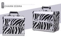 ingrosso caso di trucco zebra-Cosmetic bag Trucco professionale Custodia cosmetica per scatola grande capacità Alluminio a due strati Beauty Woman Makeup Box Zebra