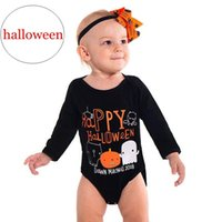 Wholesale tutu happy resale online - quot Happy Halloween quot Baby Romper Infant letter print Halloween black pumpkins print Jumpsuits quot Dawn machell quot for years