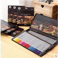 Wholesale pen counts resale online - Watercolor Pencils for Artist Sketch and Secret Garden Assorted Colors Water Brush with Tin Case Counts