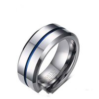 wolframlinie großhandel-Art- und Weisedünne blaue Linie Wolfram-Ring der Hochzeit 2018, der 8MM Hartmetallringe rostfrei für Männer-Schmuck schlägt