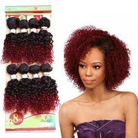 Wholesale curly braiding hair weave resale online - 8 quot inch Jerry Curl Bundles Sew in Hair Extensions Burgundy Curly Synthetic Hair Weave For Women Pack